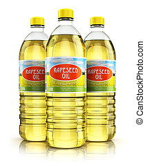 Group of plastic bottles with rapeseed oil - 3D render...