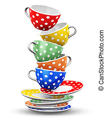 Stack of flying color polka dot coffee cups - 3D render...