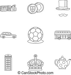 Country United Kingdom icons set, outline style - Country...