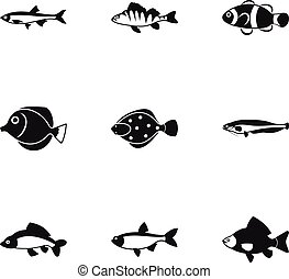 Species of fish icons set, simple style - Species of fish...