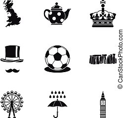 Country United Kingdom icons set, simple style - Country...