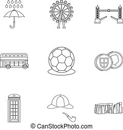 Holiday in United Kingdom icons set, outline style - Holiday...