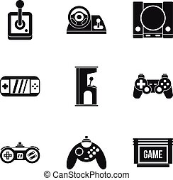 Game online icons set, simple style - Game online icons set....