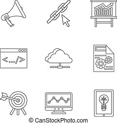 Promotion icons set, outline style - Promotion icons set....