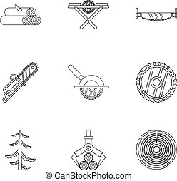 Cleaver icons set, outline style - Cleaver icons set....