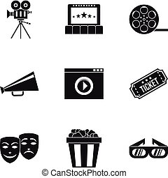 Cinematography icons set, simple style