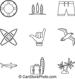 Surfing icons set, outline style
