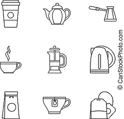 Drink icons set, outline style - Drink icons set. Outline...