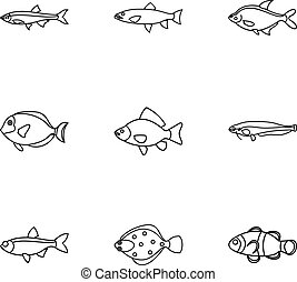 Species of fish icons set, outline style - Species of fish...