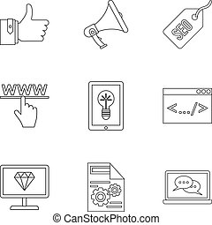 SEO promotion icons set, outline style - SEO promotion icons...