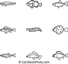 Fish icons set, outline style