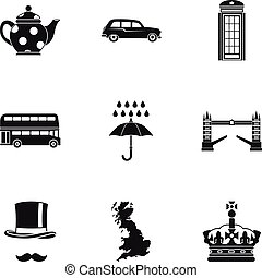 Tourism in United Kingdom icons set, simple style