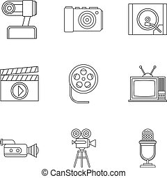 Communication device icons set, outline style