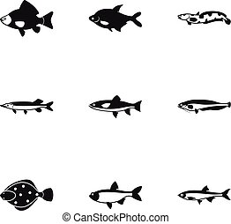 River fish icons set, simple style - River fish icons set....