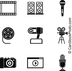 Electronic equipment icons set, simple style - Electronic...