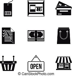 Online shopping icons set, simple style
