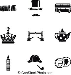 Attractions of United Kingdom icons set. Simple illustration...