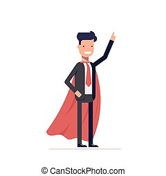 Businessman or manager in the heroic mantle. Super man in a business suit with his hand raised. Vector, illustration EPS10.