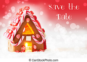 Gingerbread House, Red Background, English Text Save The...