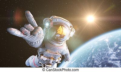 Rock`n Space, Astronaut in orbit. 3d render
