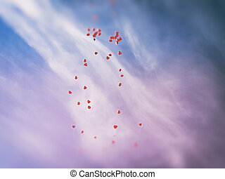 Countless red love balloos flying to heaven against sky...