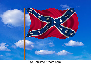 Confederate rebel flag wavy on blue sky background -...