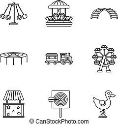 Rides icons set, outline style