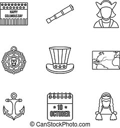 Pioneer icons set, outline style - Pioneer icons set....