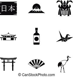 Attractions of Japan icons set, simple style