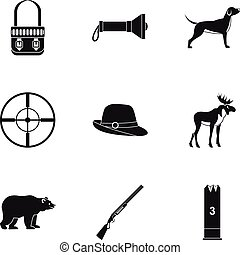 Bird hunting icons set, simple style