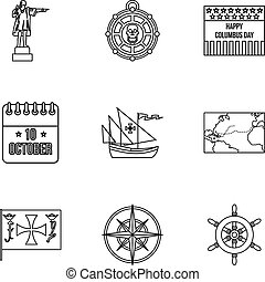 Search of mainland icons set, outline style - Search of...