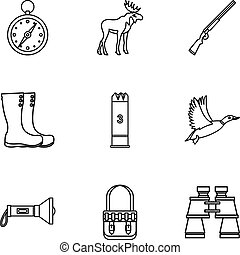 Bird hunting icons set, outline style