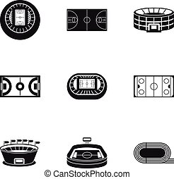 Sports stadium icons set, simple style - Sports stadium...