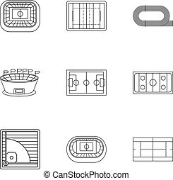 Sports complex icons set, outline style - Sports complex...
