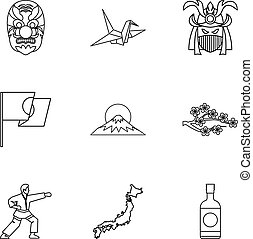 Attractions of Japan icons set, outline style