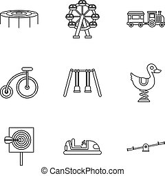 Swing icons set, outline style