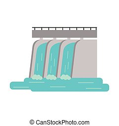 hydroelectric station plant water dam vector illustration...