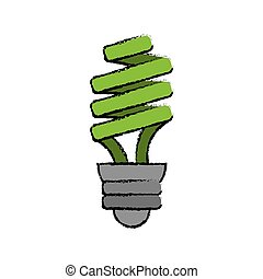 drawn green energy saving lamp light bulb vector...
