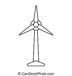 ecology wind turbine electricity generator pictograph vector...