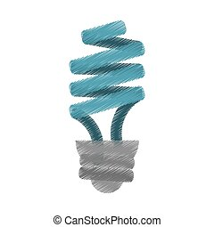 blue energy saving lamp light bulb ed vector illustration...