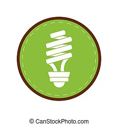 energy saving lamp light bulb green circle vector...