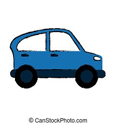 drawn blue car transport industry contamination icon vector...