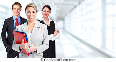 Business group - Group of business people over blue office...