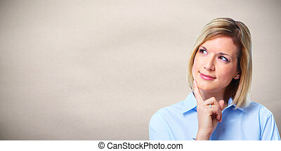 Woman thinking - Young attractive business woman thinking...