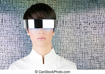 silver futuristic glasses modern woman portrait