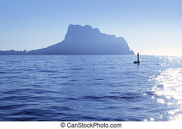 Ifach Penon mountain from Calpe blue fog backlight - Ifach...
