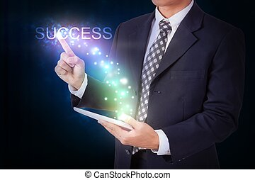 Businessman holding tablet with pressing success. internet...