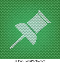 Pin push sign. white icon on the green knitwear or woolen cloth texture.