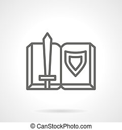 Book adventures of knights simple line vector icon