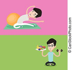 Two lifestyle banners with space for text. Vector flat...
